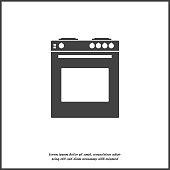Vector icon gas stove with oven for a kitchen. Black cooker illustration on white isolated background.  Layers grouped for easy editing illustration. For your design.