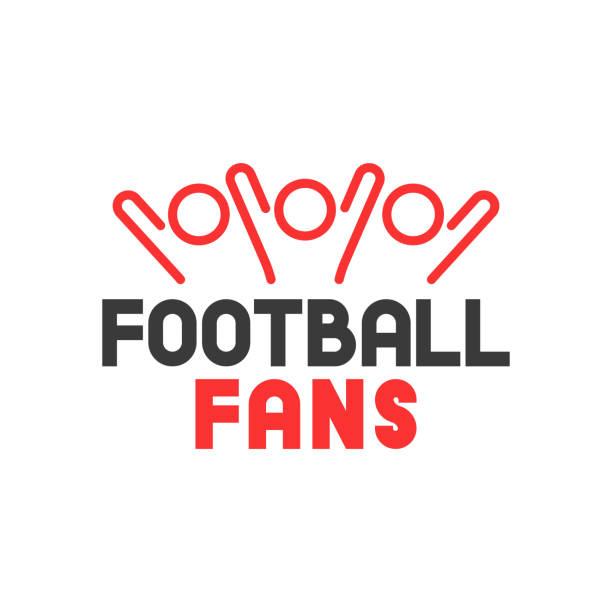 vektor-symbol gruppe sportfans mit fußball-fans schriftzug - fussball fan stock-grafiken, -clipart, -cartoons und -symbole