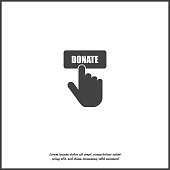 Vector icon hand presses button donate icon on white isolated background. Layers grouped for easy editing illustration. For your design.