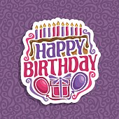 Vector icon Happy Birthday: 11 burning candles on celebration cake with drip chocolate, greeting lettering title text happy birthday, balloons and surprise gift with bow clip art on purple background.