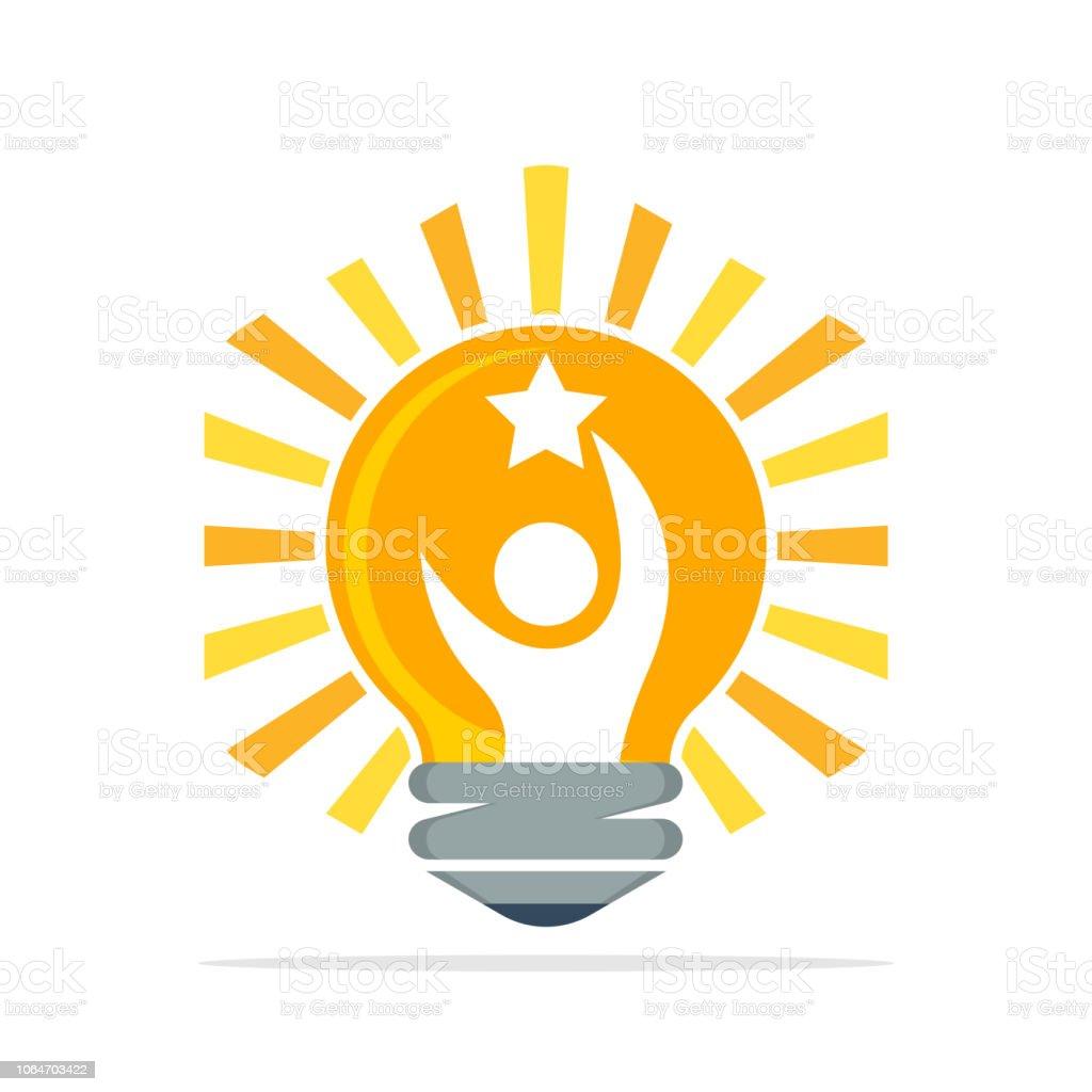 成功を達成するために創造的なアイデアの概念とベクトル アイコン