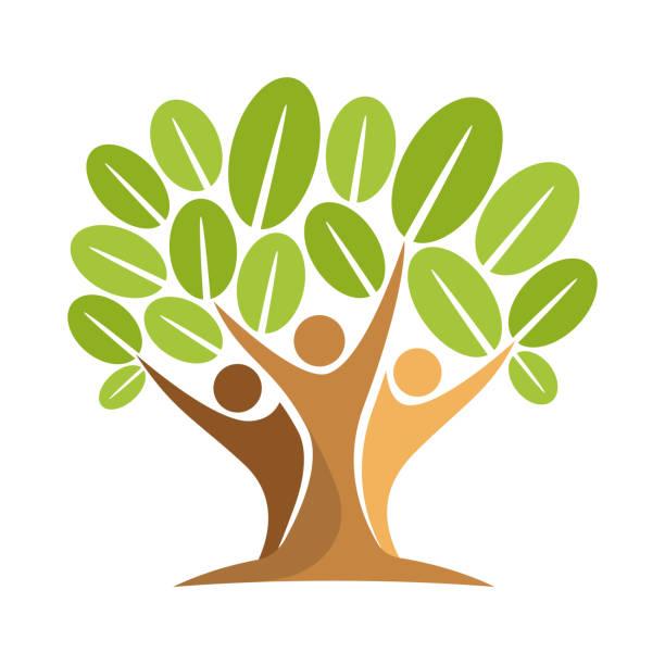 stockillustraties, clipart, cartoons en iconen met vectorillustratie van het pictogram met het concept van mensen boom - herbebossing