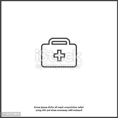 Vector icon indicates the presence of first-aid. Doctor. First Aid Kit on white isolated background. Layers grouped for easy editing illustration. For your design.