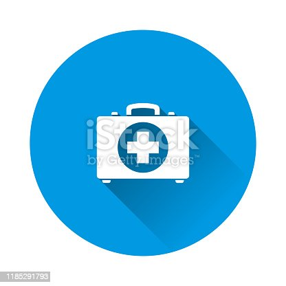 Vector icon indicates the presence of first-aid. Doctor. First Aid Kit. Vector icon illustration on blue background. Flat image with long shadow. Layers grouped for easy editing illustration. For your design.
