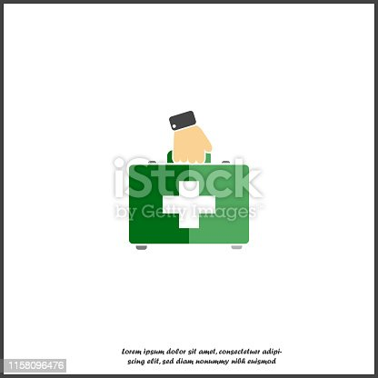 Vector icon indicates the presence of first-aid. Doctor. First Aid Kit with hand. Vector icon illustration on white isolated background. Layers grouped for easy editing illustration. For your design.