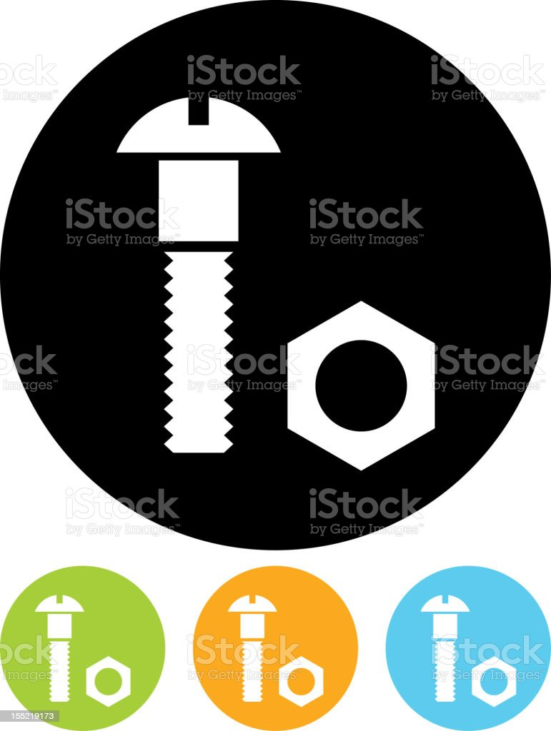 Vector icon isolated on white - Bolt and nut royalty-free vector icon isolated on white bolt and nut stock vector art & more images of bolt