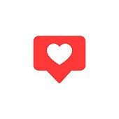 Vector icon like.Thumbs up  with heart shape. Social media red icon on isolated background.