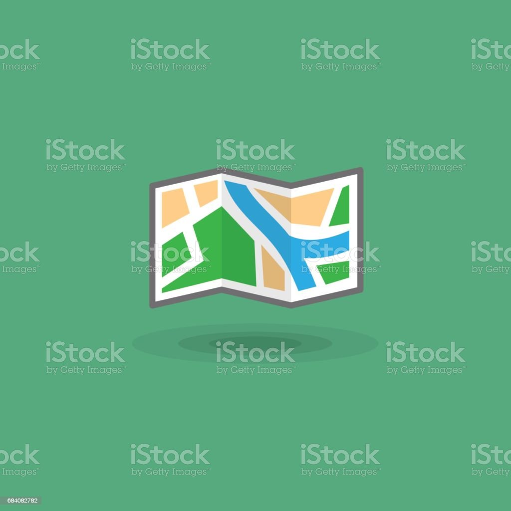 Vector icon map of area for tourist trip. Tourist illustration travelers map vector art illustration