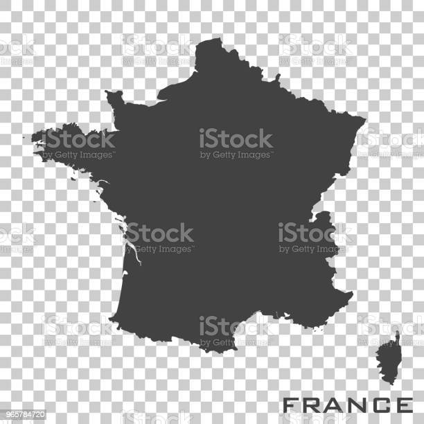 Vector Icon Map Of France On Transparent Background Stock Illustration - Download Image Now