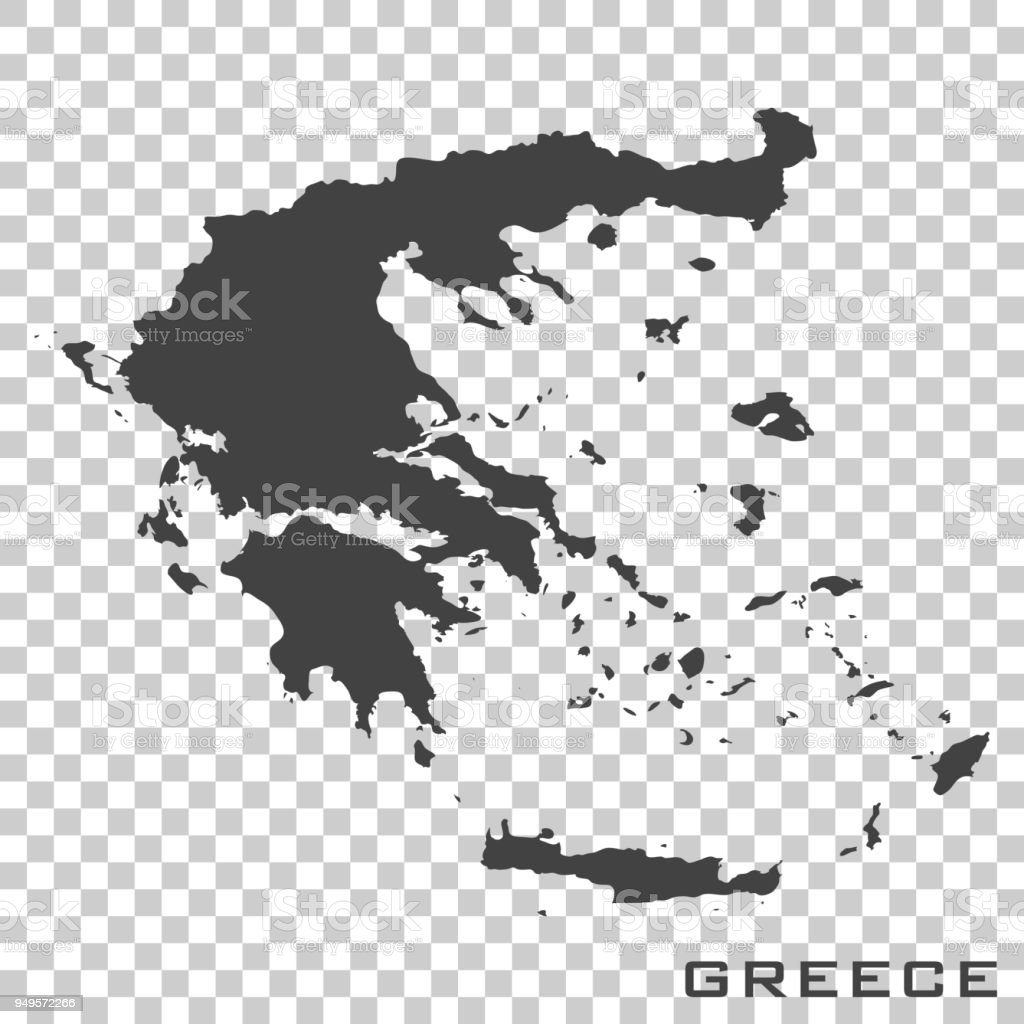Vector icon map of Greece  on transparent background vector art illustration