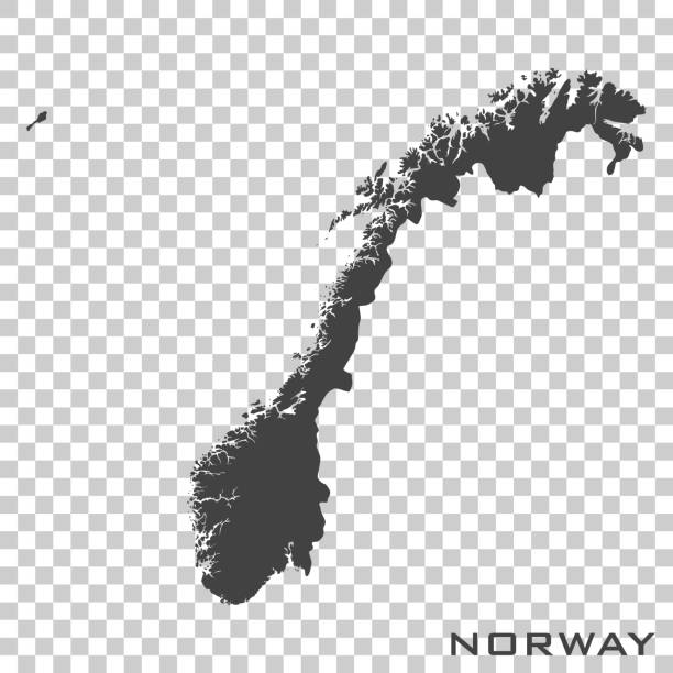 Vector icon map of Norway on transparent background Vector icon map of Norway on transparent background norway stock illustrations