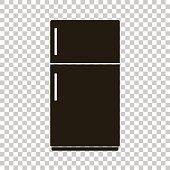 Vector icon of a black refrigerator. Home Appliances