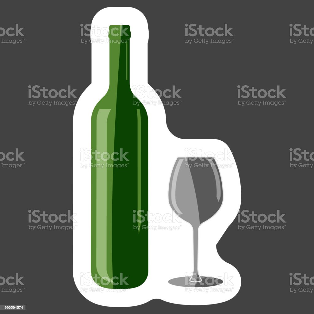 831ae18f8c8 Vector icon of a glass and bottle. Dark bottle and glass goblet symbol  colored sticker