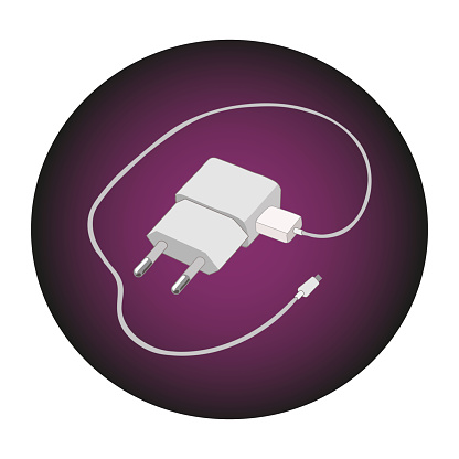 Vector icon of a smartphone charger in the circle