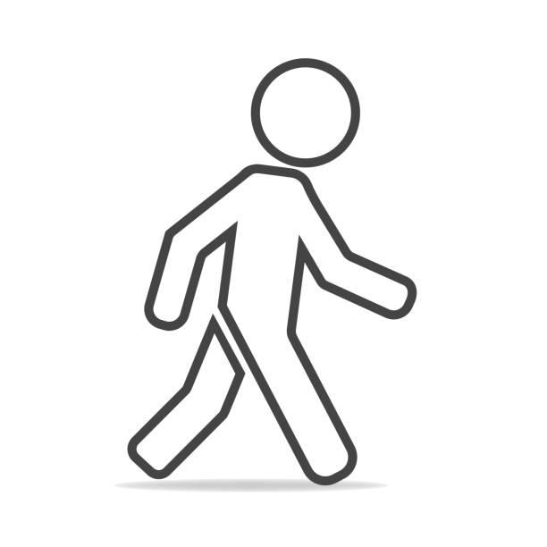 stockillustraties, clipart, cartoons en iconen met vector icoon van een lopen voetgangers. illustratie van een wandelende man op een grijze achtergrond - voetganger