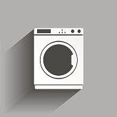 Vector icon of a washing machine with shadow design. Home Appliances