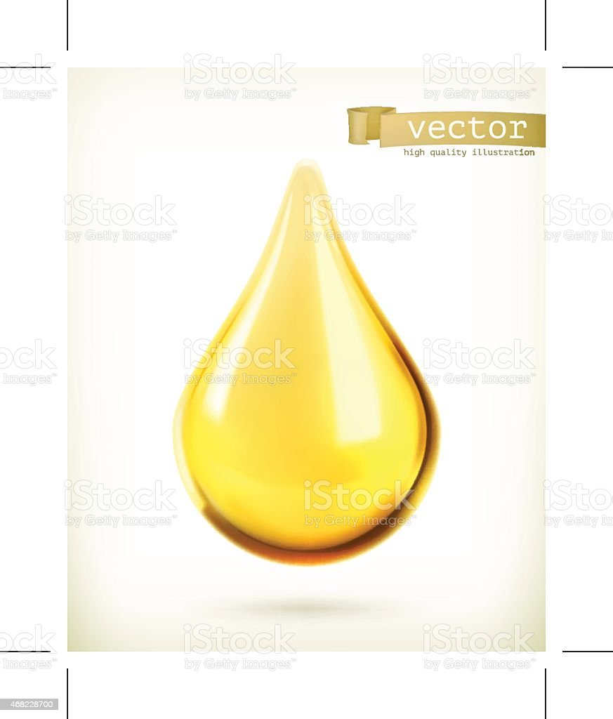Vector icon of an oil drop floating vector art illustration