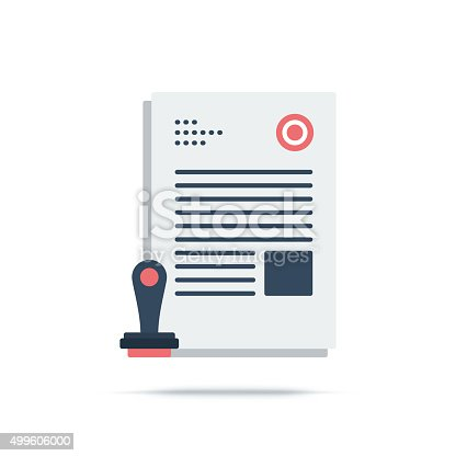 Vector illustration of patent, approved, paper, legal. Flat style icon isolated on white background.