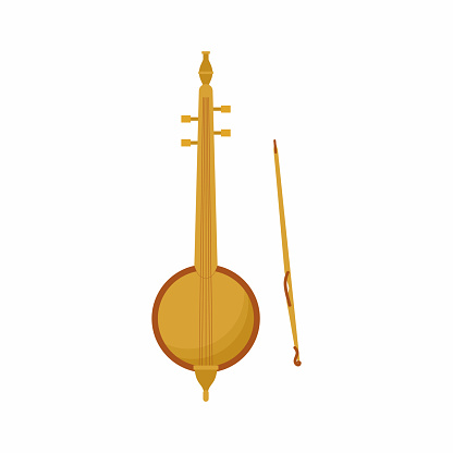 Vector icon of Arabic musical instrument called rebab. Traditional musical percussion. The name of several related bowed string instruments. Moroccan music, string instrument, folk instrument.
