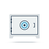 Vector illustration of vault, security, savings. Flat style icon isolated on white background.