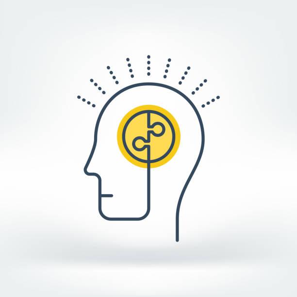 stockillustraties, clipart, cartoons en iconen met vector icon of brainstorming - menselijk hoofd