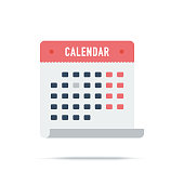 Vector illustration of calendar, meeting, scheduling. Flat style icon isolated on white background.