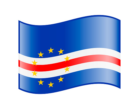 Vector Icon of Cape Verde Waving Flag on white background