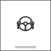 istock Vector icon of car steering wheel and driver's hands on white isolated background. 1087045940
