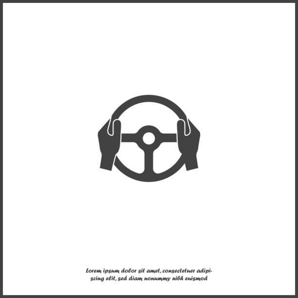 ilustraciones, imágenes clip art, dibujos animados e iconos de stock de icono de vector de rueda del coche y manos del conductor sobre fondo blanco aislado. - conductor
