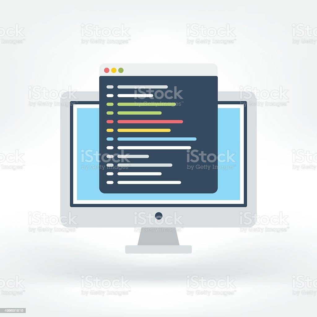 Vector Icon of Code Editor vector art illustration
