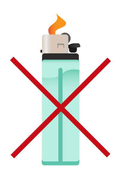 vektor-symbol der durchgestrichenen zigarettenanzünder - feuerzeuggas stock-grafiken, -clipart, -cartoons und -symbole