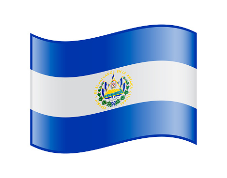 Vector Icon of El Salvador Waving Flag on white background