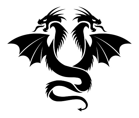 vector icon of flying two headed dragon