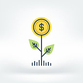 Vector illustration of plant, sustainability, funding, coin. Flat style icon isolated on white background.