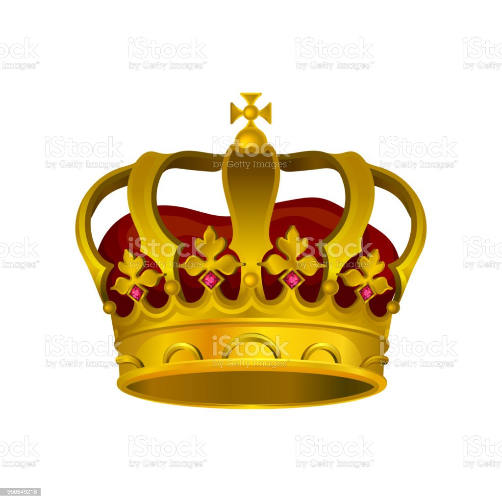 Vector Icon Of Golden Crown With Precious Stones Red Velvet And