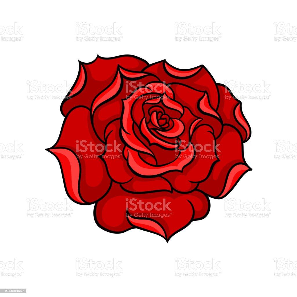 Icone De Vecteur De Magnifique Rose Rouge Vif Bourgeon De Fleur De