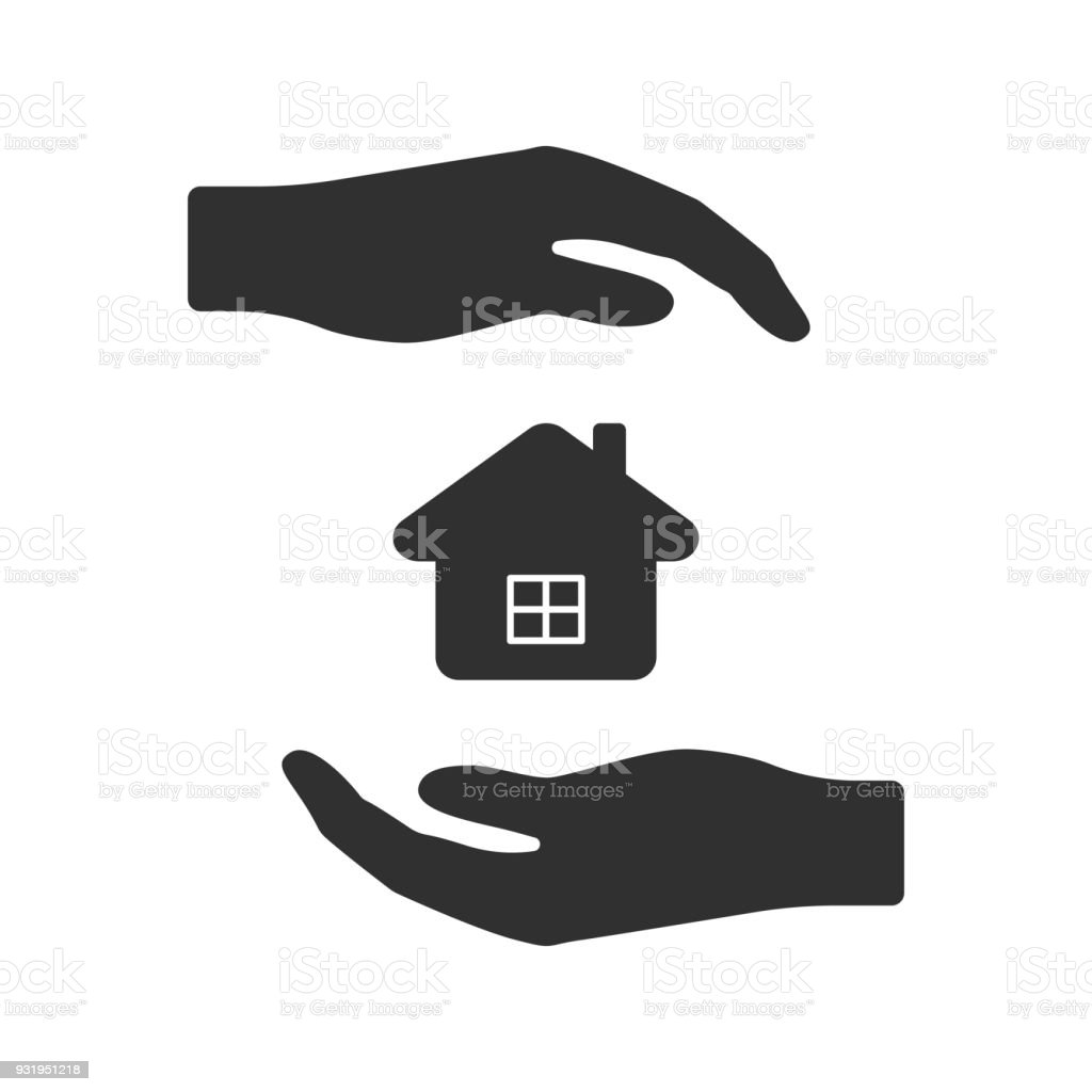 Vector icon of hands surrounding the house from above and from below. Isolated vector art illustration