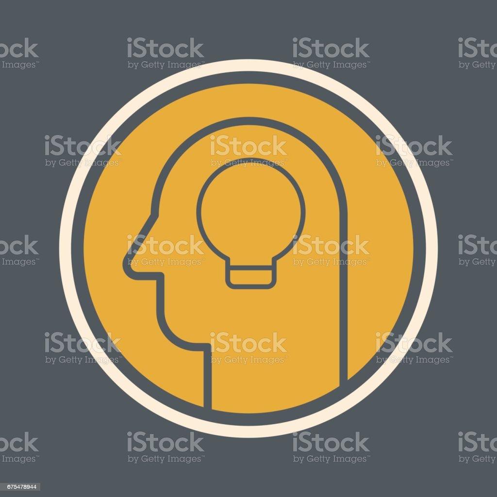 Icône de vecteur de Tête humaine avec une ampoule icône de vecteur de tête humaine avec une ampoule – cliparts vectoriels et plus d'images de activité de plein air libre de droits