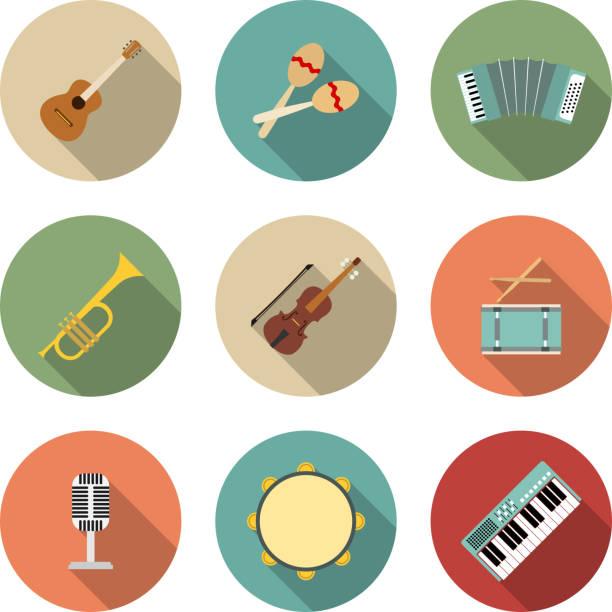 ilustrações, clipart, desenhos animados e ícones de ícone de vetor de equipamento musical - pandeiro