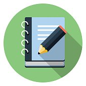 Vector icon of notepad with pencil