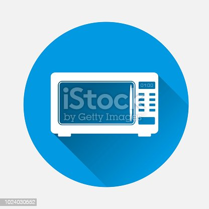 Vector icon of of  black microwave oven  on blue background. Flat image home appliances with long shadow. Layers grouped for easy editing illustration. For your design.
