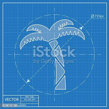 Vector icon of palm tree blueprint style stock vector art more vector icon of palm tree blueprint style stock vector art more images of abstract 523618136 istock malvernweather Image collections