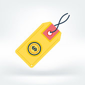 Vector illustration of price tag, commerce, sale. Flat style icon isolated on white background.