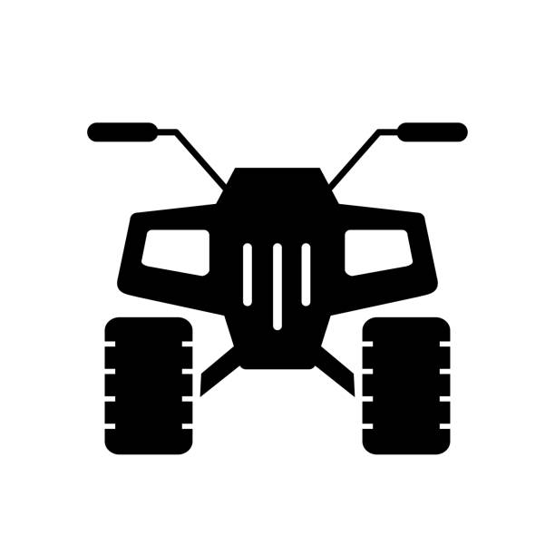 vector icon of quad offroad vector icon of quad offroad all wheel quadbike stock illustrations