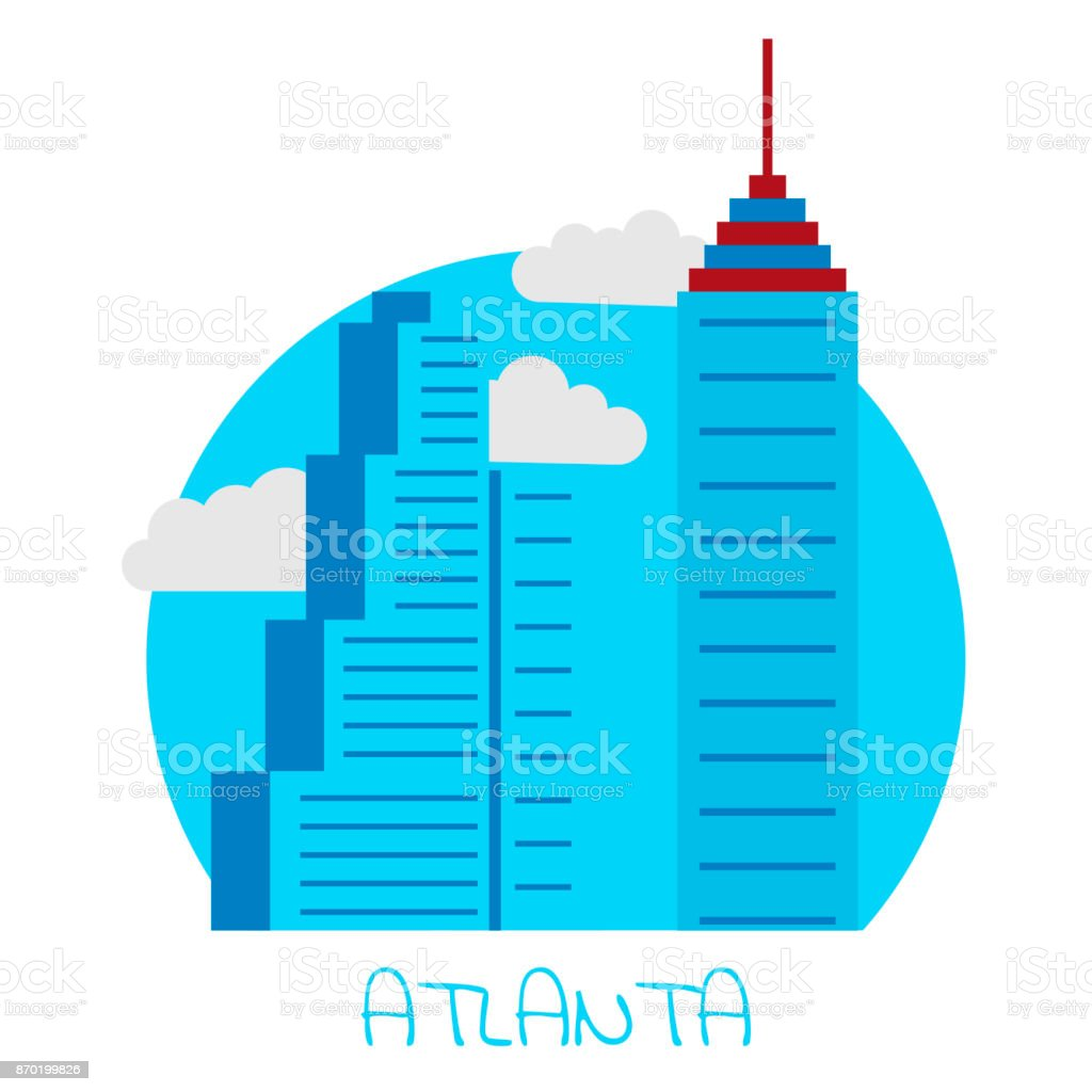 Vector Icon Of The City Of Atlanta On White Isolated Background  Royalty Free Vector Icon
