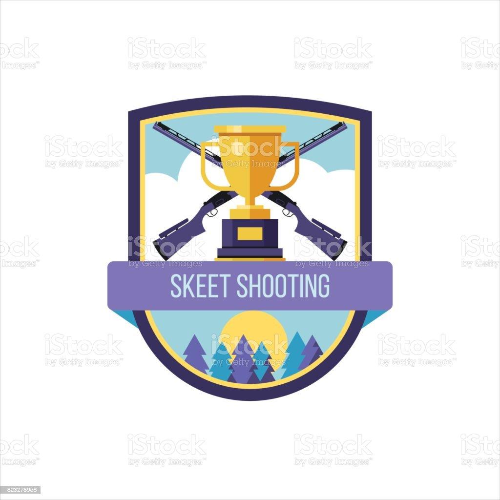 Logo vectoriel du Club de sport. Tir au pigeon d'argile. - Illustration vectorielle