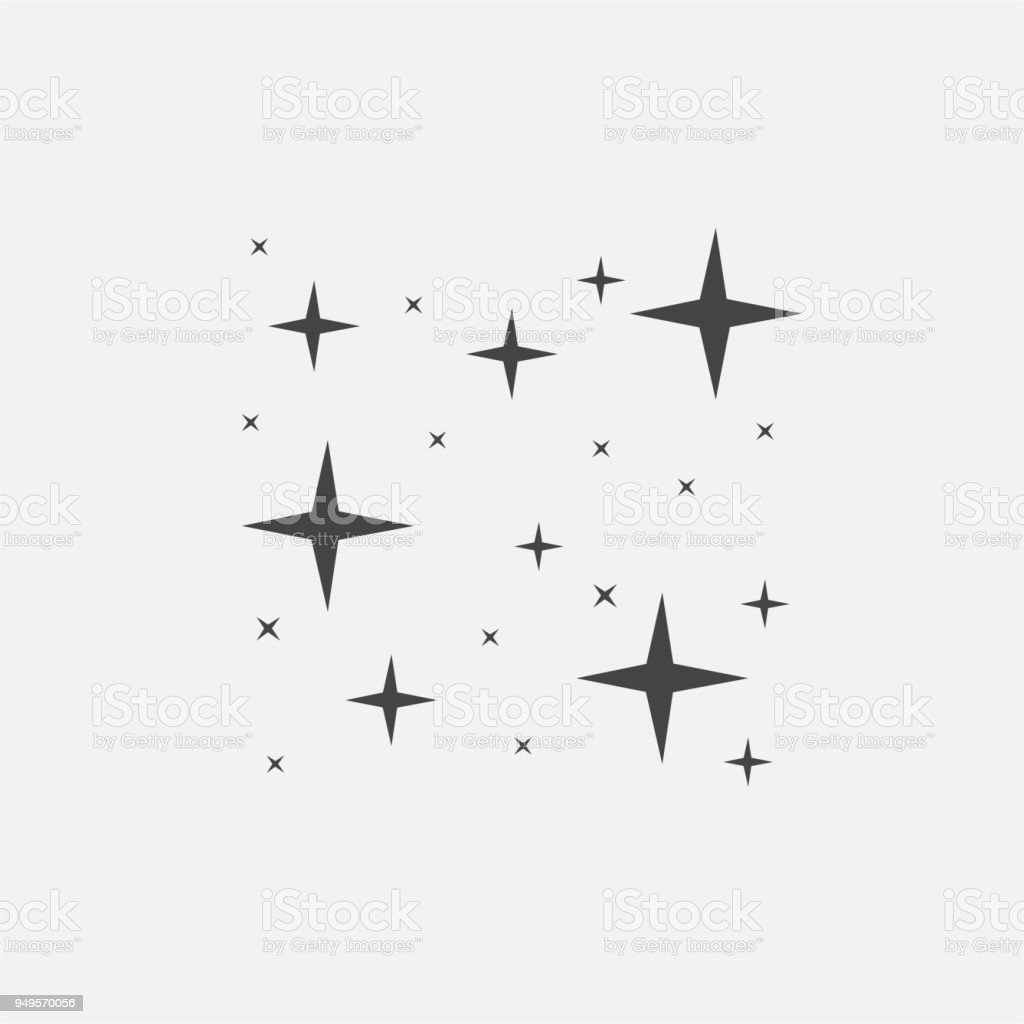 Vector icon of the star, starry sky, shine of purity vector art illustration
