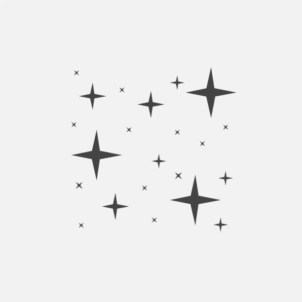 Vector icon of the star, starry sky, shine of purity Vector icon of the star, starry sky, shine of purity celebrities stock illustrations