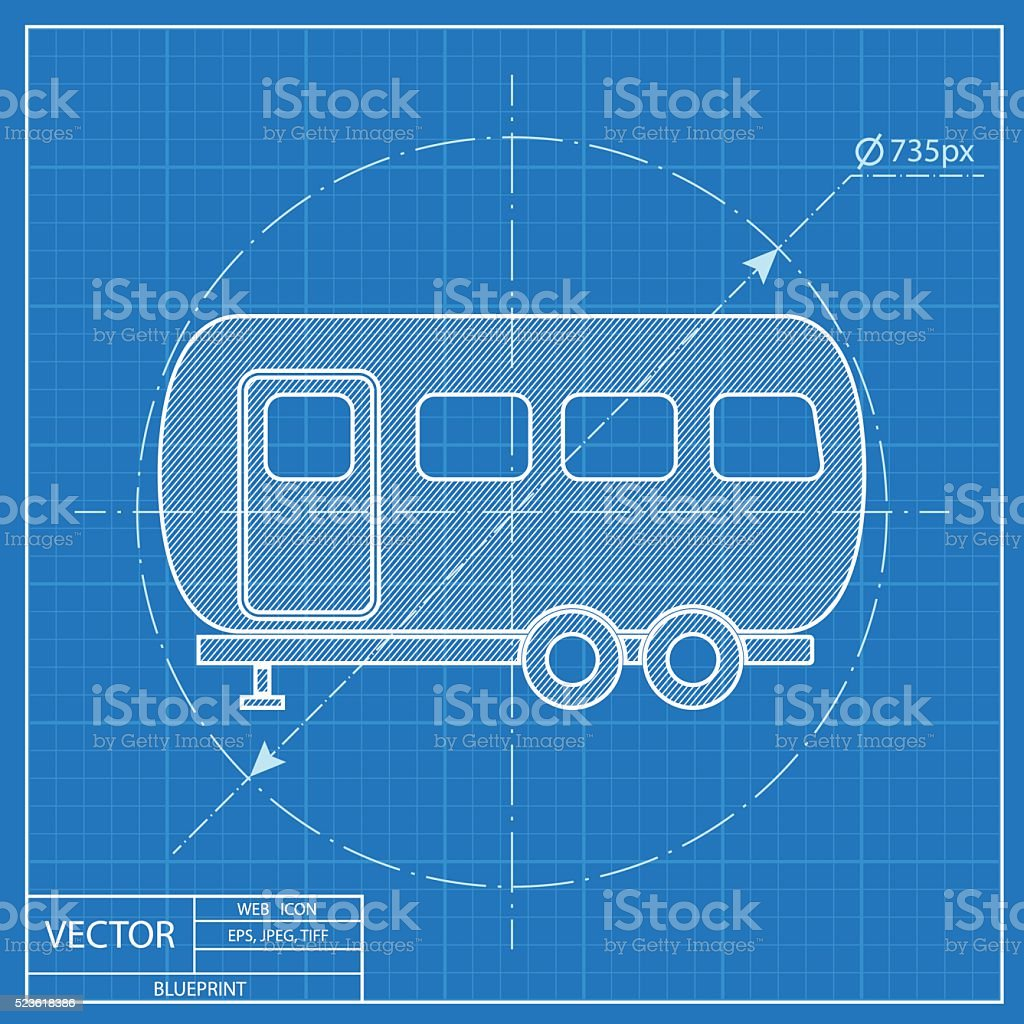 Vector icon of trailer house blueprint style stock vector art more blueprint style royalty free vector icon of trailer house malvernweather