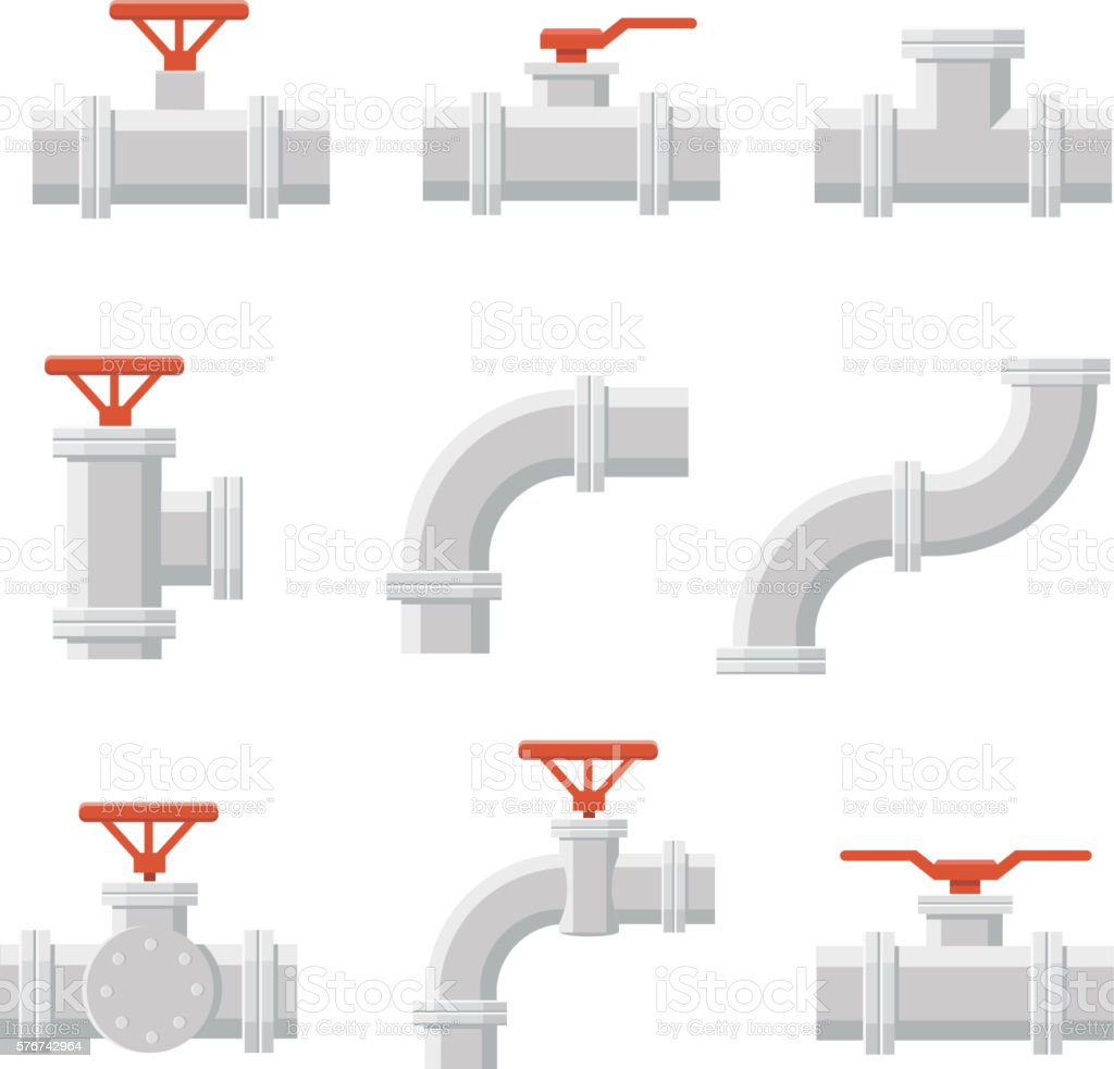 Vector icon of water pipe connector for plumbing and piping - Royalty-free Blue stock vector